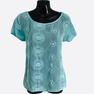 RENEE C sheer top teal blue lace embroidery